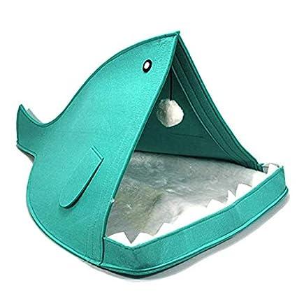 Gusto casero Cama para Gatos semicerrada con Forma de pez en Forma de pez Tienda de