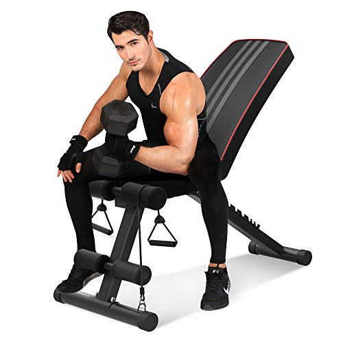 Bigzzia Adjustable Weight Bench (Olympic Weight Bench) - 7 Adjustable Positions, Folding Flat/Incline/Decline FID Bench, Perfect for Full Body Workout and Home Gym