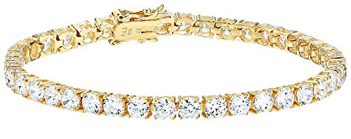 Amazon Essentials Yellow Gold Plated Sterling Silver Round Cut Cubic Zirconia Tennis Bracelet (4mm), 7