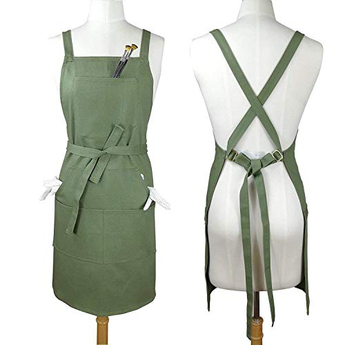 Soft Cotton Canvas Apron, Cross Back + Fasten Buckle for Artist Kitchen Cooking (100% Cotton Canvas - Thick Sturdy, Green)