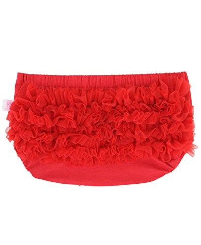 Ruffly Rumps Infant/Toddler Girls' Baby Bloomer w/Chiffon Ruffles - Red - 0-6m - Ruffled Bloomers Lace