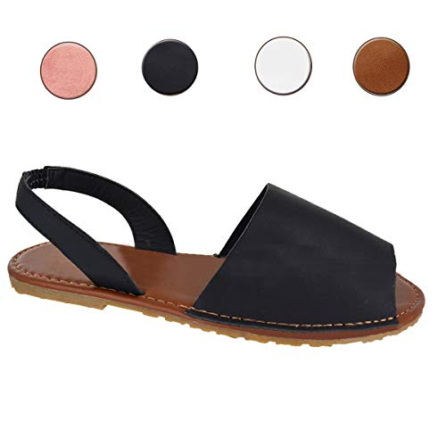 (Rainlin Women's Casual Summer Slip On Sandals Slingback Peek Toe Flat Shoes Black Size 8.5)