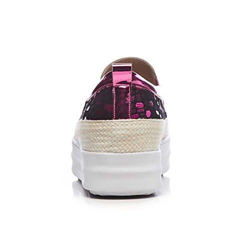 Women Leder Plateauschuhe Flat Bequeme Bling ZJM größe Bling Pink 34 Style Panthoes Pumps Farbe Schuhe 4wZHAx
