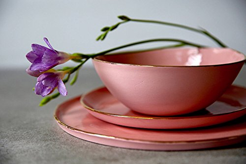 Pink porcelain and 14K gold rim modern dinnerware set of 3 - soup bowl, dinner plate, dessert plate by SinD studio