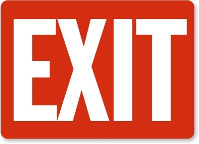 Exit (white on red) Sign, 14
