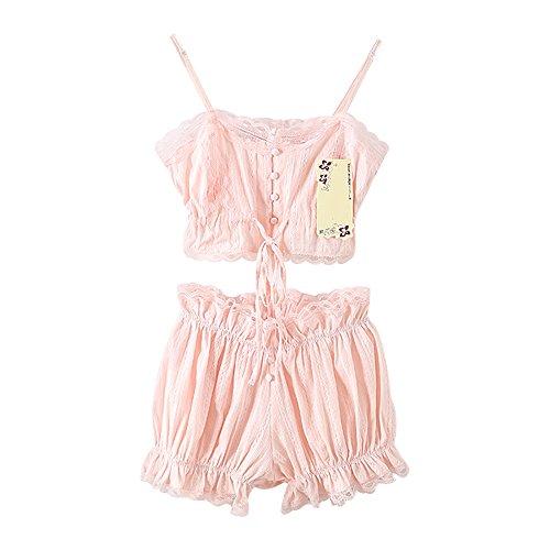 TOMORI Womens Vintage Lace Sleepwear Lolita 2 Pieces Pajamas Victoria Court Bloomers Short Set (Pink) ()