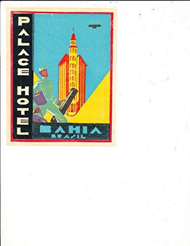 1950's Hotel (Palace Hotel Bahia Brazil 1950's luggage Label Sticker)