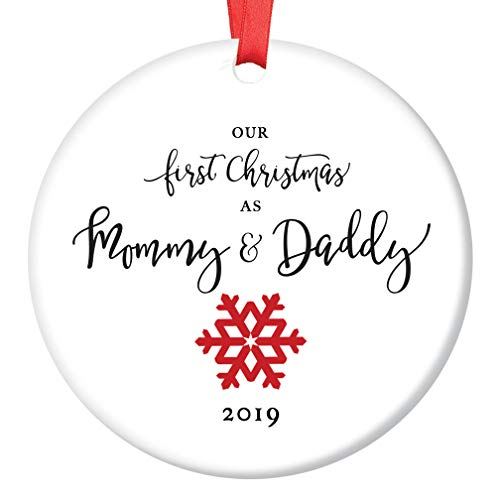 Parents Ornament - First Christmas as Mommy & Daddy 2019 Tree Ornament Infant Girl Boy Newborn Son Daughter 1st Time New Parents Porcelain Keepsake Cute Red Snowflake 3