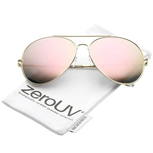 zeroUV - Women's Oversize Metal Pink Mirrored Lens Aviator Sunglasses 65mm (Gold / Pink - Sunglasses 65mm
