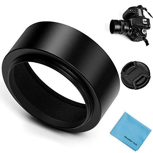 - 49mm Metal Standard Screw-in Standard Lens Hood Sunshade with Centre Pinch Lens Cap for Canon Nikon Sony Pentax Olympus Fuji Sumsung Leica Camera +Cleaning Cloth