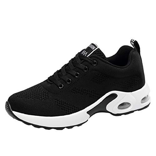 Quicklyly Casual Zapatos Malla Mujer Y Negro Calzado De Volador Tejido Corriendo Deportivo Zapatillas Transpirable nYwFSqrAY