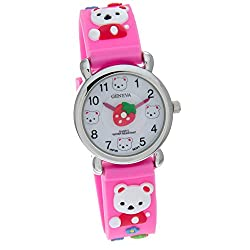 Geneva Stawberry Teddy Bear Pink Rubber Band Kids Watch #CH-161