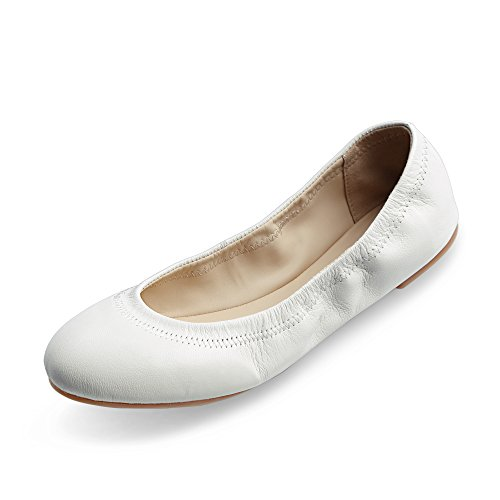 - Xielong Women's Chaste Ballet Flat Lambskin Loafers Casual Ladies Shoes Leather White 10