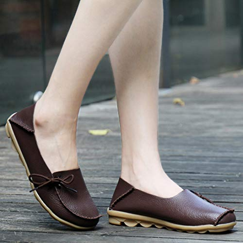 on Casual Shoes Coffee Shoes Driving Flat MAKE FORCE Women's Soft Leather UNION Loafers ALLY Slip Boat PqR1wnzU