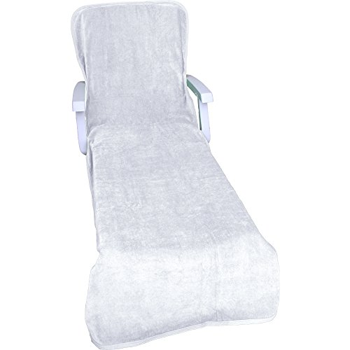 Comfy robes velour chaise lounge chair cover white for Chaise lounge covers cotton
