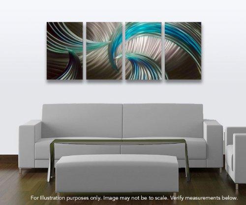 Amazon.com: Miles Shay Tempest Blue Green Metal Wall Art, Modern ...