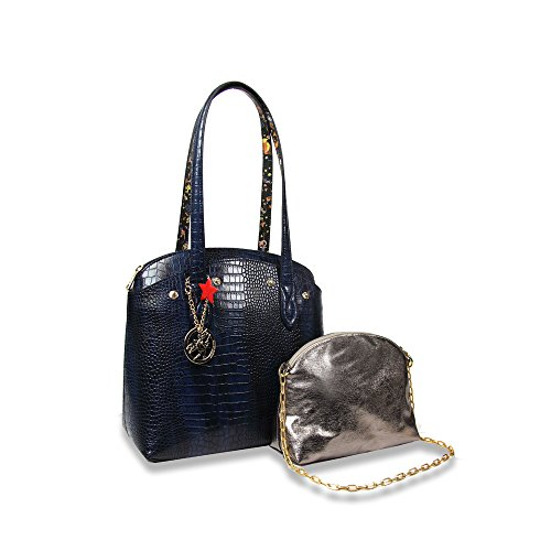 Piero Guidi borsa shopper donna Magic Circus Reversibile stampa cocco blu 210933086.79