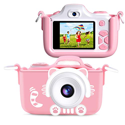 Samoleus Kids Camera, Kids Digital Camera, Digital Video Camera Child Mini Selfie Camcorder with 2 Inch LCD / HD 12MP Camera / 4X Digital Zoom / Dual Lens / LED Flash / 256MB TF Card / Soft Silicone Cover for Girls and Boys Gifts (Pink Cat)