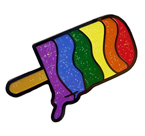 Dark Spark Decals Rainbow LGBT Gay Pride Ice Pop Icecream, Hidden Pride Flag With Glitter 1.75