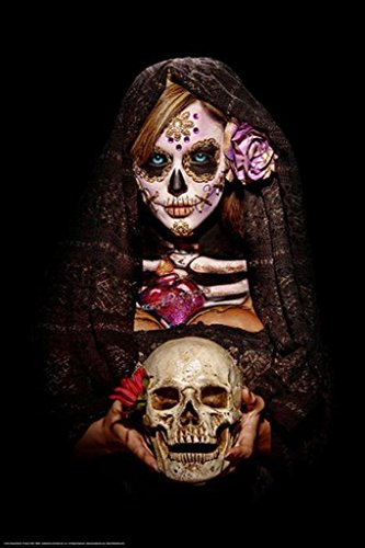 Get Down Art Fortune Teller by Daveed Benito Sexy Girl Holding Skull Poster 24x36 inch]()