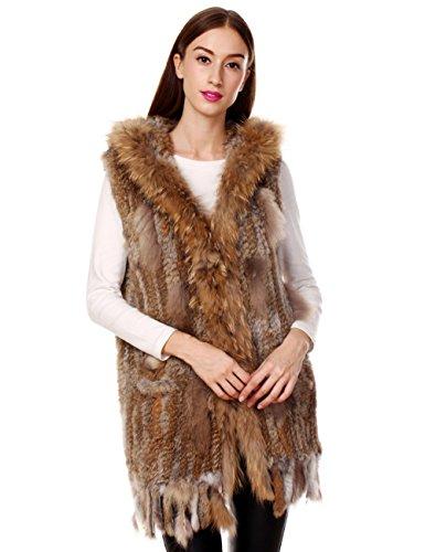 Di Giacca Elegante Inverno Naturale Con Lunga Procione Per Collare In Donna Nappe Pelliccia Coniglio Vera Ferand Cappuccio Gilet BqWRwnf