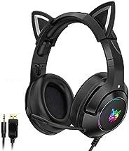 QUANXI Headset Gamer com fio K9 com microfone, Fone de ouvido com microfone Unidade de alto-falante grande de