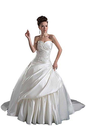 Pronovias Bridal Dresses - Angel Formal Dresses Appliques Sweetheart Lace-up Satin Wedding Dress(18,White)