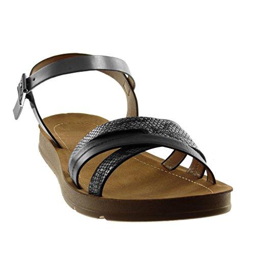 Angkorly Women's Fashion Shoes Sandals - Ankle Strap - Crossed Thongs - Crossed Thongs Wedge 2 cm Black silver DgIKlkX