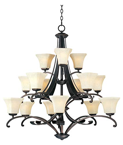 Fifteen Light Frost Lichen Glass Rustic Burnished Up Chandelier ()