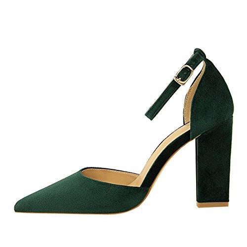 Xue Qiqi Sugerencia irregular con solo zapatos con estilo femenino con el campo de luz de alto talón zapatos sandalias hueco salvaje negro El verde