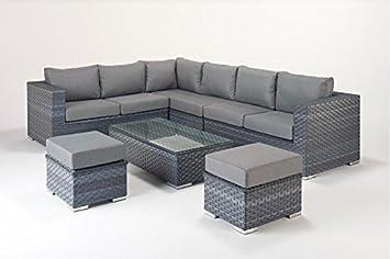 Manhattan Grey Garden Furniture Large Corner Sofa Set