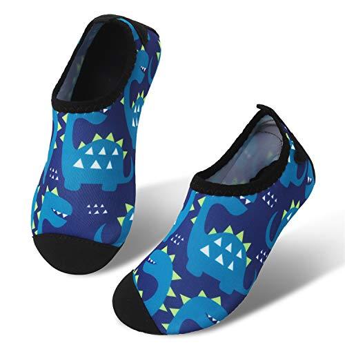 JIASUQI Classic Atheltic Sand Aqua Water Shoes for Kids Boys Girls,Navy Dinosaur US 8-8.5 M Toddler