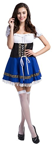 zhaodaolm Women's Tassels Anime Cosplay Luck of the Irish Gal Apron Maid Fancy Dress Costume Making you more confident.
