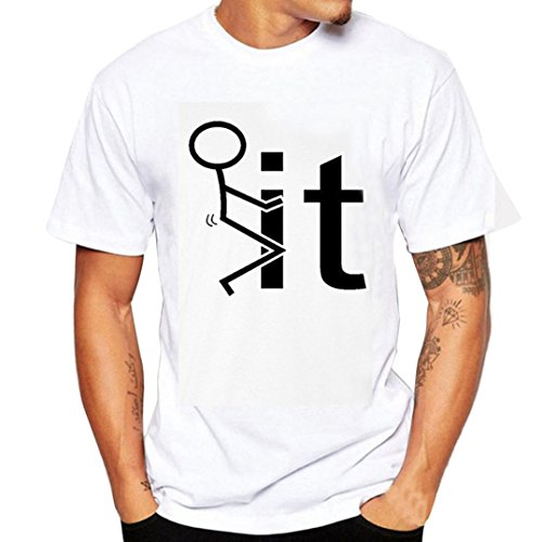 Clearance !Kstare Mens T-Shirt,Graphic Round Neck Casual Short Sleeve Tee Solid Short Tops (S, -