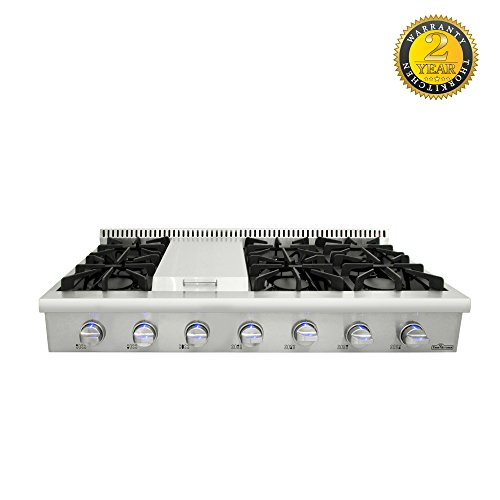 Evakitchen Pro-Style Gas Rangetop with 6 Cooktop, Sealed Performance Burners with Iron Grates, Metal Knobs in Stainless Steel HRT4806U, Agent Thor Kitchen ()