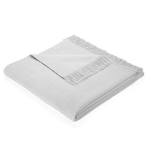Biederlack Wohndecke/Sofa-Überwurf, 60 % Baumwolle, Mit Fransen, 100 x 200 cm, Silber, Cotton Cover Silber, 562630
