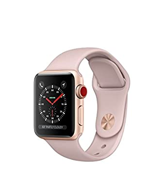 Apple watch series 3 Aluminum case Sport 38mm GPS + Cellular GSM unlocked (Gold Aluminum case with Pink Sand Sport)