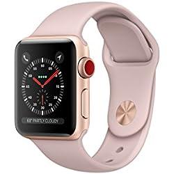 Apple watch series 3 Aluminum case Sport 38mm GPS + Cellular GSM unlocked (Gold Al case w/ Pink sand sport band)