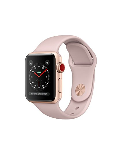 Apple watch series 3 Aluminum case Sport 38mm GPS + Cellular GSM unlocked (Gold Aluminum case with Pink Sand Sport) by Apple