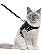 rabbitgoo Cat Harness and Leash for Walking, Escape-Proof No Choke Reflective Vest Harnesses for Medium Large Cats, Kitten Harness with Magic Tapes and Double Clips for Safety Outdoor Activity