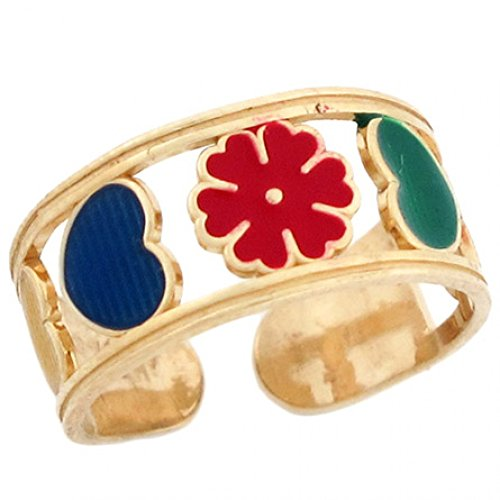 - 10k Solid Gold Flower & Hearts Enamel Toe Ring