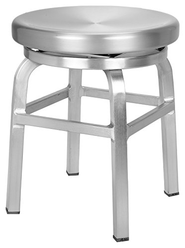 CHAIR DEPOTS Atlantic Aluminum Swivel Backless Stool, Chair Height, Brushed Aluminum Finish by CHAIR DEPOTS
