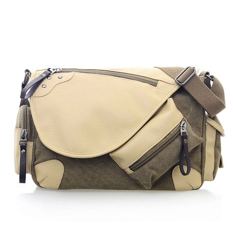 mefly lienzo Retro–bolsa para hombres de la moda bolsa de hombro occasionnel, marrón marrón