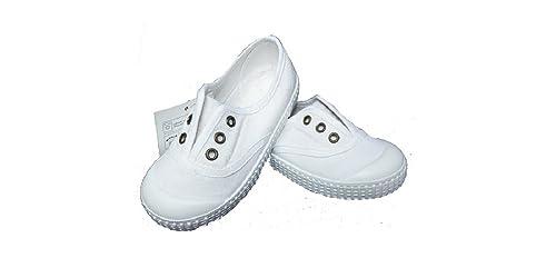 Zapatillas Lona NIÑOS Blancas SIN Cordones Puntera ZAPY (21)
