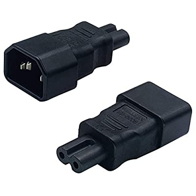 AAOTOKK IEC 320 C14 to C7 AC Adapter, 10A 125V IEC 3Pole Male to 2Pole Female Figure 8 Power Adapter,IEC C7 to C14 AC Converter Polarized Adapter for LED TV etc (2 Pack-C7 to C14): Home Audio & Theater