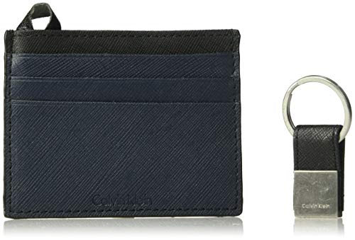(Calvin Klein Men's Leather Card Case with Key Fob, Navy Black, One)
