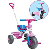 ChromeWheels Kids' Tricycle, with Pushing Handle and Grow-with Seat for 1-3 Years Old Toddler,Pink