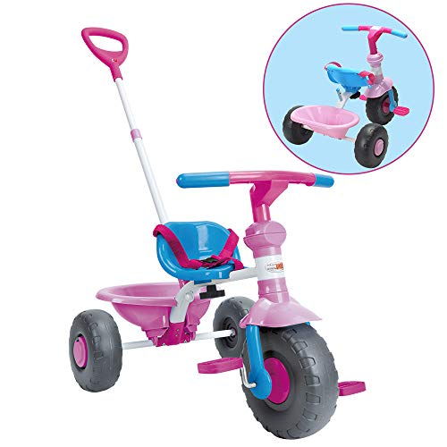 (ChromeWheels Kids' Tricycle, with Pushing Handle and Grow-with Seat for 1-3 Years Old Toddler,Pink)