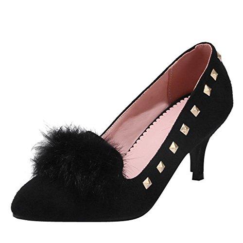 Carolbar Punta Puntiaguda Para Mujer Pom-poms Tacones Altos Bombas De Punta Estrecha Zapatos Negro