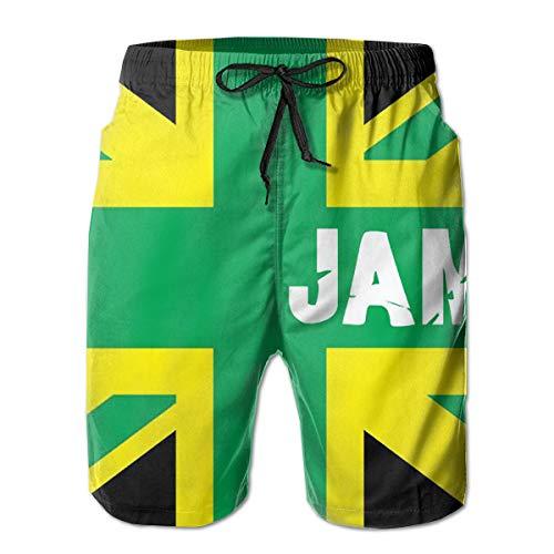 (Men's Drawstring Beach Shorts Jamaica Flag Designs Quick Dry Boardshorts with Meshing Lining)